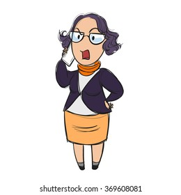 Woman on the phone loudly and angrily expressing her disappointment, hand on her hip, cartoon