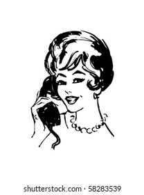 Woman On The Phone - Retro Clip Art
