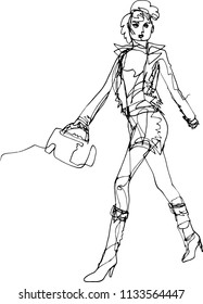 Woman on the podium, active position, modern fashionable style, boots and bag, short skirt, leather jacket, punk-style hairdo, global march, modern fashion illustration with a continuous line