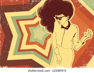 Woman on the poster of retro style