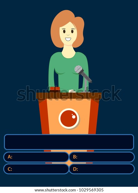 Woman On Quiz Game Answers Colorful Stock Vector (Royalty