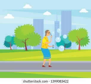 Woman on retirement vector, lady blowing in ring and making soap bubbles in city park, cityscape with buildings and skyscrapers, senior person fun