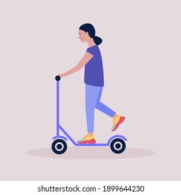 Woman on a scooter isolated on a light background. Colorful flat vector illustration. - Shutterstock ID 1899644230