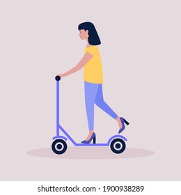Woman on a scooter isolated on a light background. Colorful flat vector illustration. - Shutterstock ID 1900938289