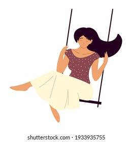 woman on swing recreation isolated