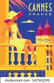 Woman on vacation in Cannes. Vintage poster. Handmade drawing vector illustration.
