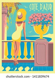 Woman on vacation on French Riviera coast. Vintage poster. Handmade drawing vector illustration. Art Deco style with grunge effect.