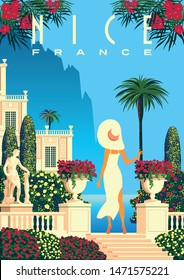 Woman on vacation on French Riviera coast. Vintage poster. Handmade drawing vector illustration. Art Deco style.
