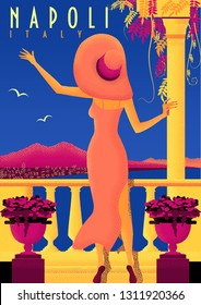 Woman on vacation on Neapolitan coast. Vintage poster. Handmade drawing vector illustration. Art Deco style with grunge effect.