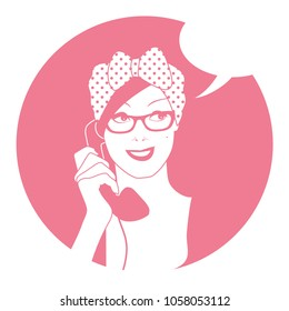 Woman on the vintage phone and blank speech balloon. Retro style.