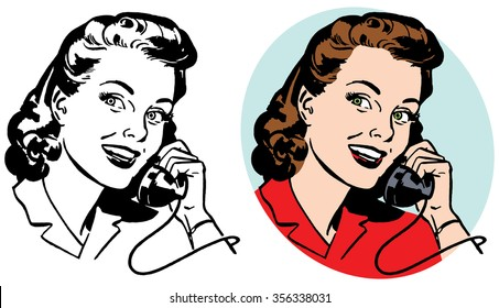 Woman on vintage telephone