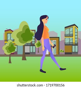 woman on a walk,  vector illustration for creating sites, applications, girl hugged her stomach