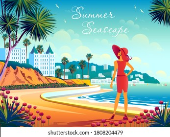 Woman on the waterfront at a popular seaside resort. Handmade drawing vector illustration.
