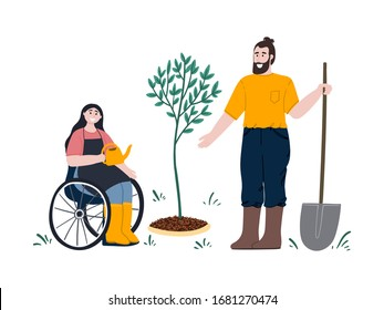 Woman on wheelchair and man gardening together. Man with shovel works in a garden. Girl is watering a seedling on the backyard. Flat cartoon hand drawn illustration.