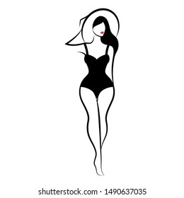 A woman in a one-piece swimsuit and a hat. Front view. Isolated vector illustration