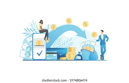 Woman online transfers money from account to account in laptop. Happy girl gets money. Internet banking services on website, in application. Rich people with banknotes, coin wallet, cash, credit card.