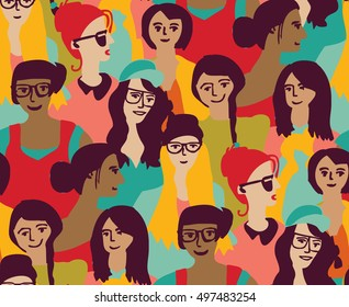 Woman only crowd group color seamless pattern. Color vector illustration. EPS8