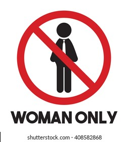 Woman only vector icon - men prohibited