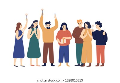 Woman open gift box with ribbon at holiday party vector flat illustration. Group of festive friends celebrating birthday, anniversary or Christmas with champagne and sparklers isolated on white