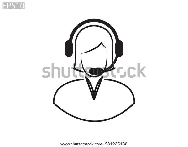 woman operator, headphones, icon, vector illustration eps10
