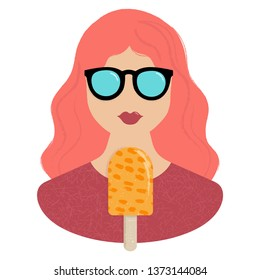 Woman and orange icream icon with hand draw and texture detail