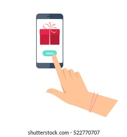 Woman is ordering a gift by phone. Flat vector concept illustration of hands with smartphone with present box icon and order button. Holiday online delivery. Christmas and new year design element.