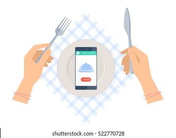 Woman is ordering meal in restaurant by phone. Flat vector concept illustration of hands with fork and knife, plate on a table napkin, smartphone with dish icon and order button. Food online delivery.