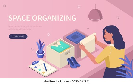 Woman organize her wardrobe and tidying clothes in drawers. Girl character cleaning room and sorting stuff. Open basket with clothes and accessories. Home organizer concept. Flat vector illustration.