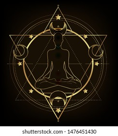 Woman ornate silhouette sitting in lotus pose and Sacred Geometry. Ayurveda symbol of harmony and balance. Tattoo design, yoga logo. poster, t-shirt textile. Gold gradient over black.