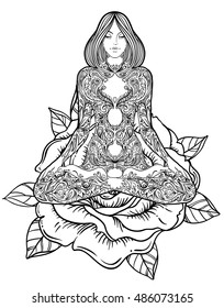 Woman ornate silhouette sitting in lotus pose. Meditation, aura and chakras. Vector illustration over rose flower. Isolated on white.