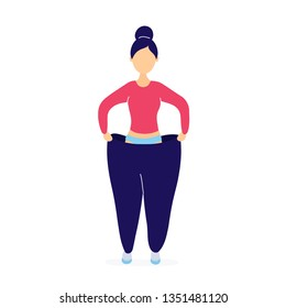 Woman in oversized pants. Weight loss concept. Flat modern trendy style.Vector illustration character icon. Isolated of white background.