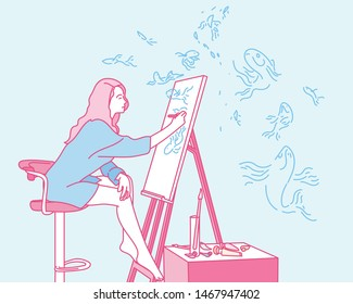 A woman painting on an easel. hand drawn style vector design illustrations.