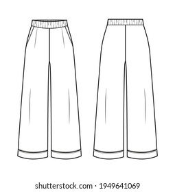 Woman pajama pants in vector graphic.Woman pants with pockets, folds and decorative piping.Homewear fashion isolated illustration template.Scheme front and back views.