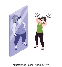 Woman with panic attack in front of mirror 3d isometric concept vector illustration