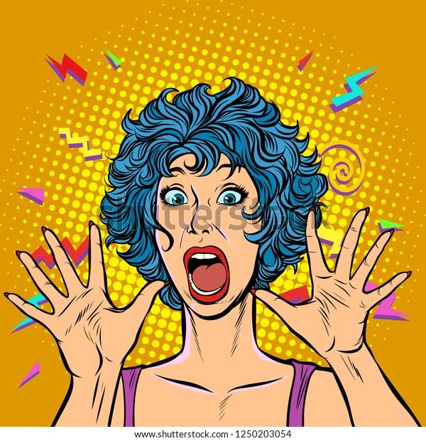 Vector de stock (libre de regalías) sobre pánico femenino, miedo ...