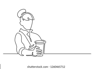 Woman with paper glass continuous one line vector drawing. Hand drawn female silhouette. Cafe, fast food. Person sitting at table and holding soda cup. Minimalistic contour illustration