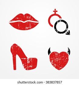 Woman, passion and relationship symbols, retro grunge style, bright red color, typical passion icons - lips, heart, high heeled shoe, Mars and Venus symbols