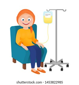 Woman patient with cancer. Chemotherapy and oncology disease concept. Cartoon vector