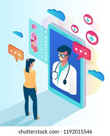 Woman patient character calling professional doctor by smartphone. Online web medicine clinic consultation concept. Vector flat cartoon isolated illustration