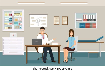 Woman patient at a doctor's consultation in clinic office. Male doctor in uniform and female patient characters sitting in consulting room. Vector illustration. Hospital working in healthcare concept.