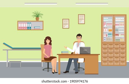Woman patient at doctors consultation in clinic office. Male doctor in uniform and female character in consulting room. Vector illustration.