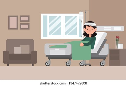 Woman Patient Resting In Hospital Bed. Sad woman lying in a hospital bed. Isolated vector illustration.