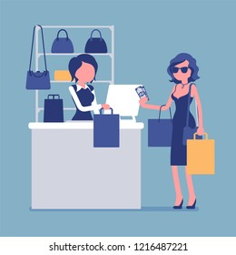 Woman paying with cash at handbags department. Young happy lady with bags near cashbox, customer shopping in mall and cashier at register. Vector illustration with faceless characters