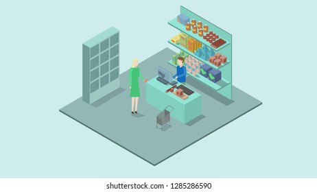 A woman is paying for food at the store. Isometry.