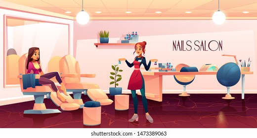 Woman in pedicure salon for nails care beauty procedures, master presenting nailpolish to client girl sitting barefoot in transforming armchair in spa grooming studio. Cartoon vector illustration