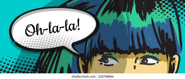 woman peeking out, cartoon comics speech bubble, vector drawing