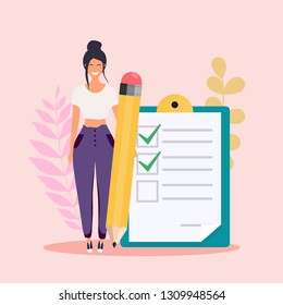 Woman with pencil marked checklist on a clipboard paper. Flat design modern vector illustration concept.