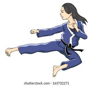 Woman performing flying kick. Vector illustration.