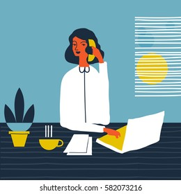 Woman personal assistant vector illustration. Young office manager. Creative business lady illustration. Secretary assistant.