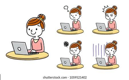 Woman: Personal computer, internet, set, variation